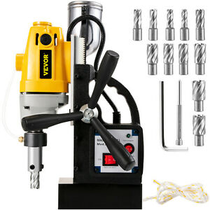 Md 40 Electric Magnetic Drill Press 1 5 Boring W 11 Pcs Hss Annular Cutter Bits