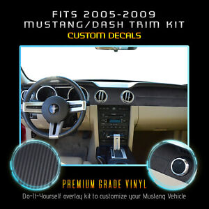 For 2005 2009 Ford Mustang Interior Dash Trim Precut Vinyl Matte Carbon Fiber