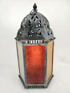 Antique Vtg Country Primitive Tin Barn Candle Lantern Pendant Light Red Glass