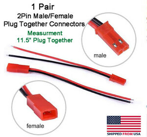 Jst 2pin Connector Male female Plug Cable 11 5 Leads Rc Lip Battery led Lights