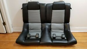 Ford Mustang Oem Leather Black And Dove gray 2005 2009 Rear Seat With Back Rests
