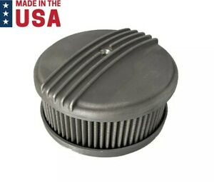 Half Finned Air Cleaner 4 Barrel 6 3 8 Unpolished Aluminum Show Quality