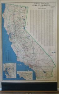 Vtg California Wall Map 62 Roll Up Engineers Official W Elliott Judge 1940 50 S