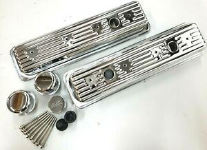 Sb Chevy Chrome Steel 3 Hole Center Bolt Short Valve Cover Kit Fits 1987 95 350