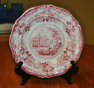 Lovely Antique Staffordshire Red Transferware Pearlware Plate Grecian Scenery