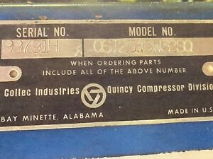 Used 30 Hp Quincey Air Compressor With Tank