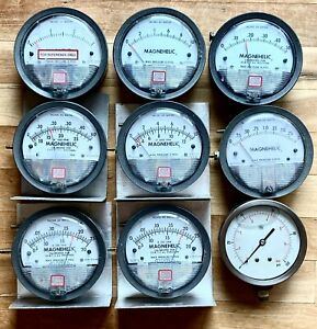 Lot 9 Dwyer Magnahelic Pneumatic Differential Pressure Gauges low Pressure