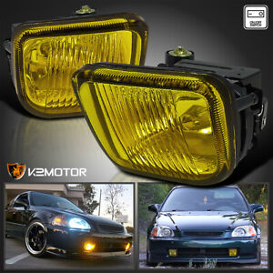 For 1996 1998 Honda Civic Yellow Bumper Fog Lights Driving Lamps Pair W Switch