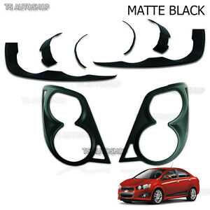Matte Black Head Tail Lamp Lights Cover Fit Chevrolet Aveo Sonic 4 5dr 2012 2015