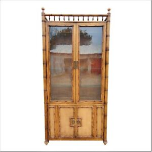 Thomasville Faux Bamboo China Closet Cabinet Gallery Top Glass Doors Shelves Vtg