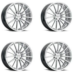 Set 4 20 Vision 473 Axis Hyper Silver Machined Face Wheels 20x8 5 5x120 35mm