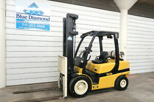2015 Yale Glp070vx Forklift 7 000 Pneumatic Lp Gas 4 Way S s F p 745 Hr
