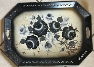 Vtg Black White Roses Tole Toleware Metal Tray Very Heavy Gage Lattice Sides