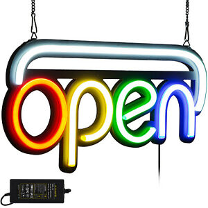 Horizontal Neon Open Sign Light 19 7x9 8 Inch 25w Bright Pubs Hanging Chain