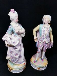 Antique French Limoges Henri Ardant Pair Bisque Figurines Court Of Versailles