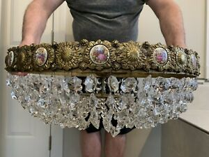 Antique Vintage French Sevres Style Flush Mount Crystal Chandelier Basket Brass