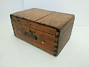 Antique Wooden Chest Box Dovetail 12 X 8 X 6 Primitive W Nameplate Navy Ditty