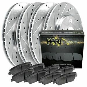 front rear Kit platinum Hart drill Slot Brake Rotors ceramic Pads 2379