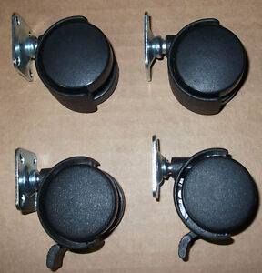 Set Of Four Dual Twin Wheel Plate Casters 1 1 2 2 Are Lockable