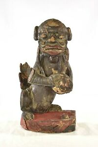 Antique Chinese Wooden Carving Carved Statue Of Fu Foo Dog Lion