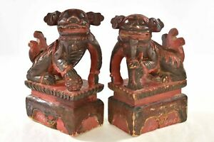 Pair Antique Chinese Red Wooden Carved Statue Of Animal Fu Foo Dog Lion