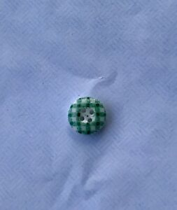 Old Antique China Calico Button Unusual Pattern Green In Color