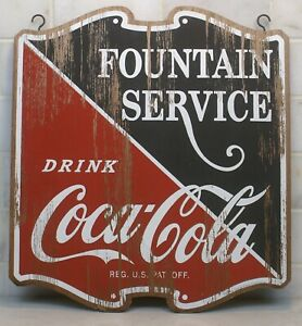 Vintage Coca Cola Fountain Service Double Sided Distressed Wooden Hanging Sign