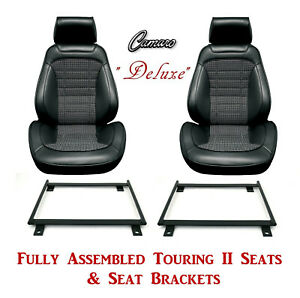 Deluxe Touring Ii Fully Assembled Seats Brackets 1968 Camaro Any Houndstooth