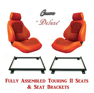 Deluxe Touring Ii Fully Assembled Seats Brackets 1969 Camaro Any Houndstooth