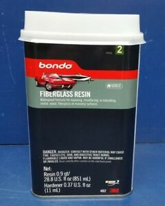 Lot Of 6 3m 402 Bondo 1 Quart Cans Fiberglass Resin With Cap And Hardener