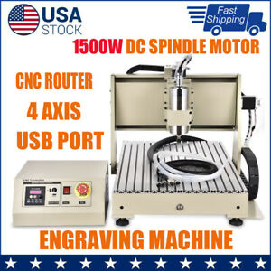 4axis Cnc6040 Usb Engraving Cutting Machine Collet W 1500w Controller 24000rpm