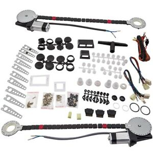 Universal Electric Power Window Lift Regulator Conversion Kit 2 Door W Switches
