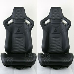 2 X Tanaka Premium Black Carbon Pvc Leather Reclinable Racing Seats Fits Nissan
