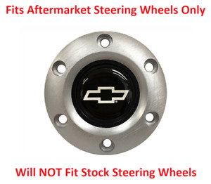 Brushed Steering Wheel 6 Hole Horn Button W Silver Chevrolet Bowtie Emblem