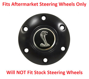 Black Steering Wheel 6 Hole Horn Button W Shelby Cobra Tiffany Snake Emblem