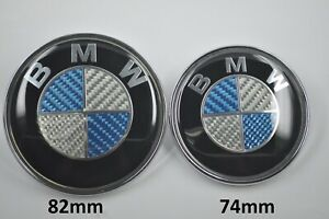 Bmw Blue Carbon Fiber Roundel Hood Trunk Emblem Logo 82mm 74mm M Power M3 M5 X5