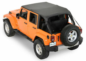 07 18 Jeep Wrangler Unlimited 4 Door Rampage Black Sailcloth Trail Soft Top