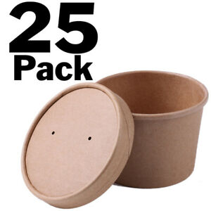 Pack Of 25 Disposable 8 Oz Soup Cup Containers With Vent Hole Lids Holds Ei