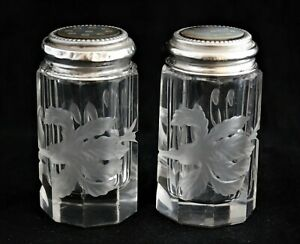 Antique Sterling Silver Mother Of Pearl Cut Crystal Salt And Pepper Shakers Set