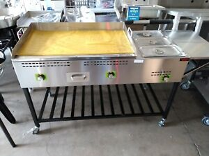 Taco Cart Food Cart Plancha Para Tacos Griddle Cart With Steamers And Shelf