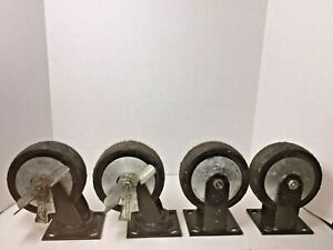 Vintage Lot Of 4 Set 6 Swivel Castor Wheels 2 Lock Bench Shop Table Replacement