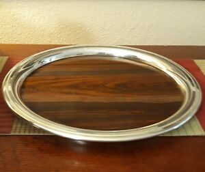 Vintage Sheffield Silver Plated Round Drink Serving Tray