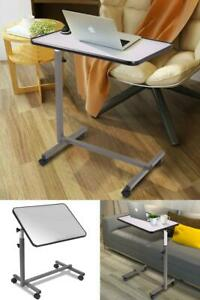 Over Bed Food Tray Small Rolling Computer Table Desk Stand Stylish Portable