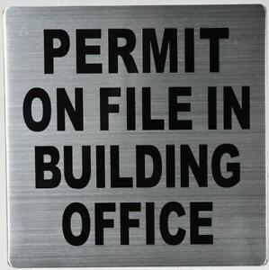 Permit On File In Building Office Sign silver 7x7 Double Sided Tape
