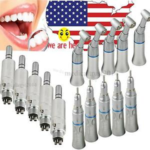 5 Set Dental Slow Low Speed Handpiece Push Contra Angle 4h E type Motor Turbine