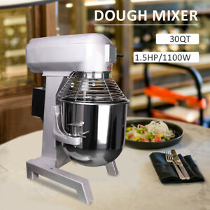 1100w 3 Speed 30qt Commercial Dough Food Mixer Pizza Bakery Stainless Steel