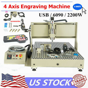 Usb 4axis Cnc 6090 Router Engraver Mill drilling Cutter Machine Sb 2 2kw Vfd