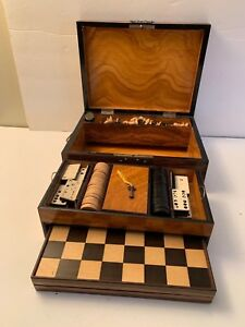 Antique Burled Walnut Wood Travel Game Box Chess Checkers Dominos Pull Out Board