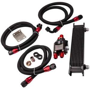 Universal 10row An10 Engine Racing Oil Cooler Filter Relocation Kit Oil Lines