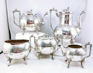 Reed Barton 2245 Sphinx Finial Elk Head Leg Silver Plated Teapot Coffee Pot Set